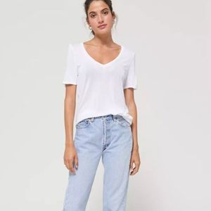 UO NWT Truly Madly Deeply Deep-V Tee Ivory